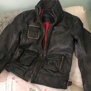 NEW💥Superdry Men Tarpit Premium Leather Jacket